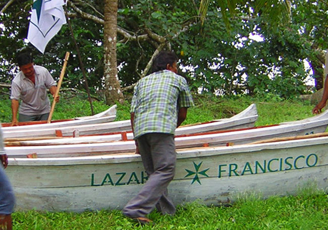 hospice & palliative care: a Spanish location depicting a canoe with Lazarus painted on the hull