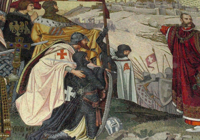 hospice & palliative care: a medieval painting of knights about to serve the Church